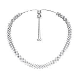 Eternity Three Row White Sapphire Platinum plated Silver Adjustable Choker Tennis Necklace