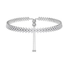 Eternity Three Row Diamond CZ Silver Adjustable Choker Tennis Necklace