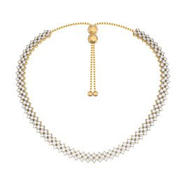 Eternity Three Row White Sapphire 18K Gold Vermeil Adjustable Choker Tennis Necklace