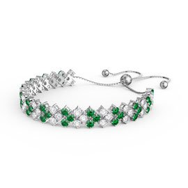 Eternity Three Row Emerald and Diamond CZ Silver Adjustable Tennis Bracelet