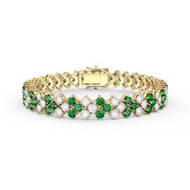Eternity Three Row Emerald and Diamond CZ 18ct Gold plated Silver Tennis Bracelet