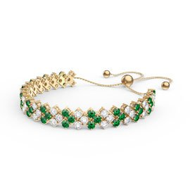 Eternity Three Row Emerald and Diamond CZ 18ct Gold plated Silver Adjustable Tennis Bracelet