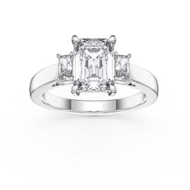Princess 2ct Diamond Emerald Cut 18K White Gold Three Stone Engagement Ring
