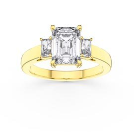 Princess 2ct Diamond Emerald Cut 18K Yellow Gold Three Stone Engagement Ring