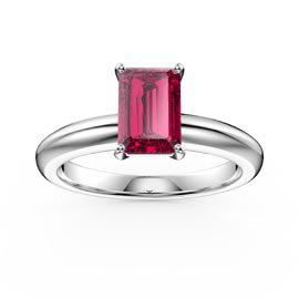 Unity 1ct Ruby Emerald Cut Solitaire Platinum plated Silver Promise Ring