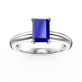Unity 1ct Blue Sapphire Emerald Cut Solitaire Platinum plated Silver Promise Ring