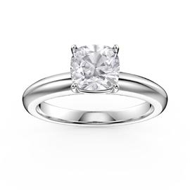 Unity 1ct White Sapphire Cushion cut Solitaire Platinum plated Promise Ring