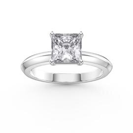 Unity 1ct Princess White Sapphire Solitaire Platinum plated Silver Promise Ring