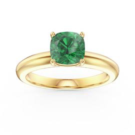 Unity 1ct Emerald Cushion Cut Solitaire 10K Yellow Gold Proposal Ring