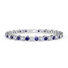 Infinity Sapphire and Diamond CZ Rhodium plated S Bar Silver Tennis Bracelet