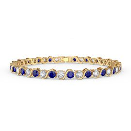 Infinity Sapphire and Diamond CZ 18K Gold plated S Bar Silver Tennis Bracelet