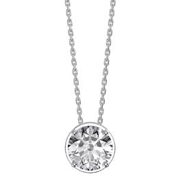 Infinity 1.0ct Solitaire White Sapphire Platinum plated Silver Pendant