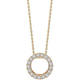 Infinity Circle White Sapphire Halo 18K Gold Vermeil Pendant
