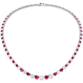 Halo Pink Sapphire CZ Platinum plated Silver Tennis Necklace
