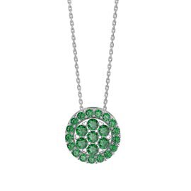 Infinity Emerald Pave and Halo Platinum plated Silver Pendant Set