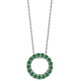 Infinity Circle Emerald Halo Platinum plated Silver Pendant