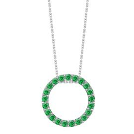 Infinity Circle Emerald Halo Platinum plated Silver Pendant Large