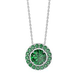 Infinity Emerald Solitaire and Halo Platinum plated Silver Pendant Set