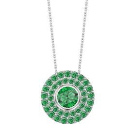 Infinity Emerald Solitaire and Halo Platinum plated Silver Pendant Max Set