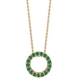 Infinity Circle Emerald Halo 18K Gold Vermeil Pendant
