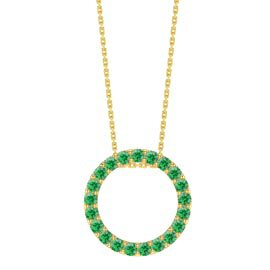 Infinity Circle Emerald Halo 18K Gold Vermeil Pendant Large