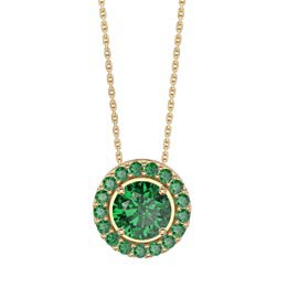 Infinity Emerald Solitaire and Halo 18K Gold Vermeil Pendant Set