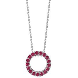 Infinity Circle Ruby Halo Platinum plated Silver Pendant