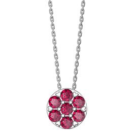 Infinity Pave Ruby Halo Platinum plated Silver Pendant