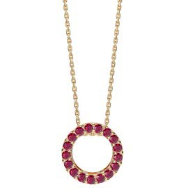 Infinity Circle Ruby Halo 18K Gold Vermeil Pendant
