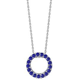 Infinity Circle Blue Sapphire Halo Platinum plated Silver Pendant