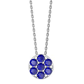 Infinity Pave  Blue Sapphire Halo Platinum plated Silver Pendant