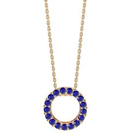 Infinity Circle Blue Sapphire Halo 18ct Gold Vermeil Pendant