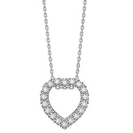 Infinity Heart White Sapphire Halo Platinum plated Silver Pendant