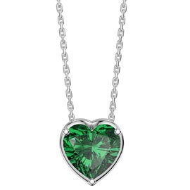 Infinity 1ct Heart Emerald 18K White Gold Pendant