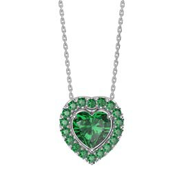 Infinity Emerald Heart Solitaire and Halo Platinum plated Silver Pendant Set