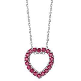 Infinity Heart Ruby Halo Platinum plated Silver Pendant