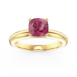 Unity 1ct Cushion cut Ruby Solitaire 18K Yellow Gold Proposal Ring