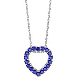 Infinity Heart Blue Sapphire Halo Platinum plated Silver Pendant