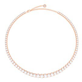 Eternity 30ct Diamond CZ 18K Rose Gold plated Silver Graduated Tennis Necklace