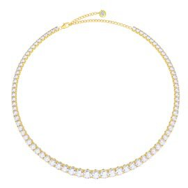 Eternity 30ct Diamond CZ 18K Gold plated Silver Graduated Tennis Necklace