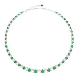 Eternity 30ct Emerald and Diamond CZ Rhodium plated Silver Graduated Tennis Necklace