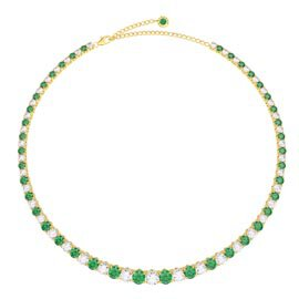 Eternity 30ct Emerald and Diamond CZ 18K Gold plated Silver Graduated Tennis Necklace