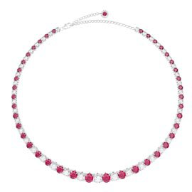 Eternity 30ct Ruby and Diamond CZ Rhodium plated Silver Graduated Tennis Necklace
