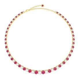 Eternity 30ct Ruby and Diamond CZ 18K Gold plated Silver Graduated Tennis Necklace