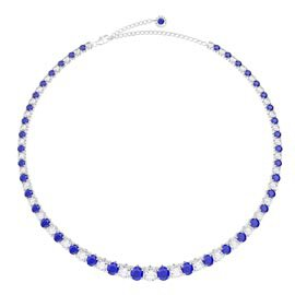 Eternity 30ct Sapphire and Diamond CZ Rhodium plated Silver Graduated Tennis Necklace