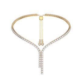 Eternity Asymmetric Drop White Sapphire 18K Gold Vermeil Tennis Necklace