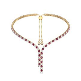 Eternity Asymmetric Drop Ruby and Diamond CZ 18K Gold plated Silver Tennis Necklace