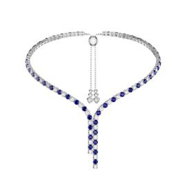 Eternity Asymmetric Drop Sapphire and Diamond CZ Rhodium plated Silver Tennis Necklace