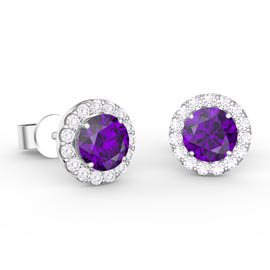 Halo 1ct Amethyst Platinum plated Silver Halo Stud Earrings