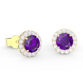 Halo 1ct Amethyst 18ct Gold Vermeil Halo Stud Earrings